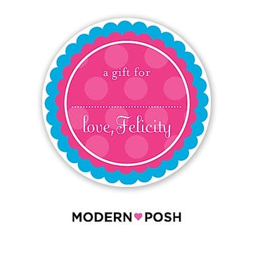 Blue Dot Posh 2 Inch Round Gift Sticker Blue & Pink