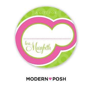 Pink Bubble Posh 2 Inch Round Gift Sticker Pink & Green