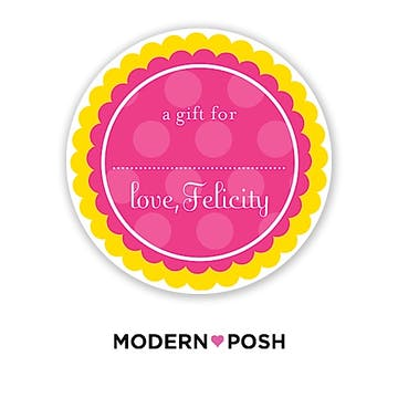 Yellow Dot Posh 2 Inch Round Gift Sticker Yellow & Pink