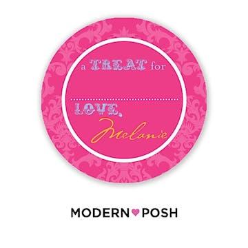 Pink Damask Posh 2 Inch Round Gift Sticker Pink & Blue