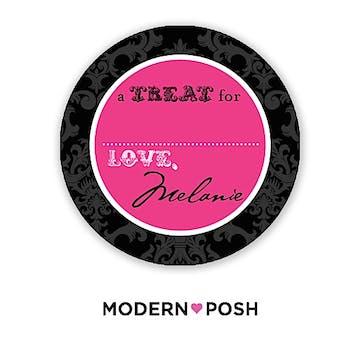 Black Damask Posh 2 Inch Round Gift Sticker Black & Pink