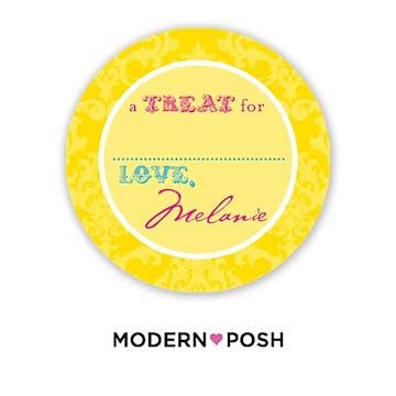 Yellow Damask Posh 2 Inch Round Gift Sticker Yellow & Pink