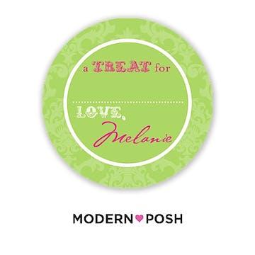 Green Damask Posh 2 Inch Round Gift Sticker Green & Pink