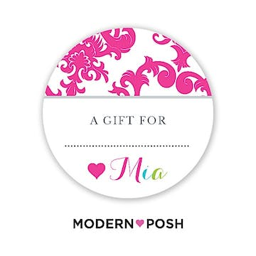 Pink Patterned Posh Round Gift Sticker