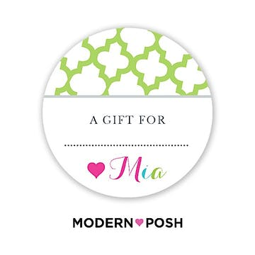 Green Trellis Posh Round Gift Sticker
