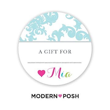 Blue Patterned Posh Round Gift Sticker