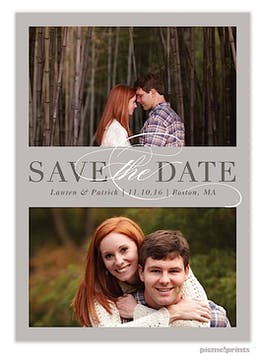 Formal Duo Grey Save The Date Photo Card