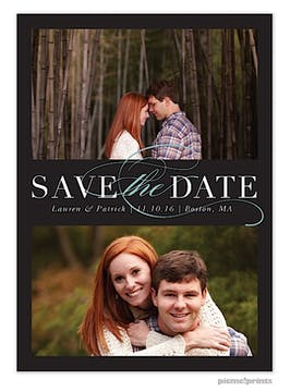 Formal Duo Black Save The Date Photo Card