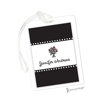 Dotted Borders Black ID Tag