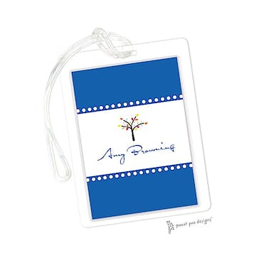 Dotted Borders Bright Blue ID Tag