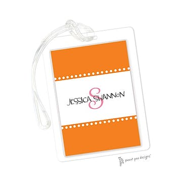 Dotted Borders Orange ID Tag