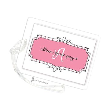 Curly Frame & Dots Deep Pink ID Tag