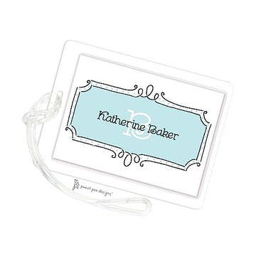 Curly Frame & Dots Aqua ID Tag