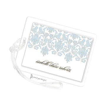 Damask Blue & Gold ID Tag