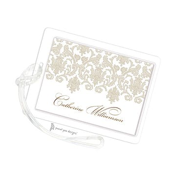 Damask Taupe & Gold ID Tag