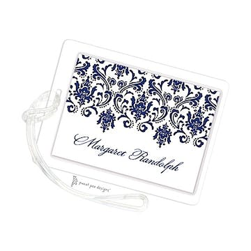 Damask Navy & Gold ID Tag