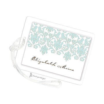 Damask Aqua & Gold ID Tag