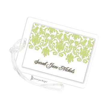 Damask Lime & Gold ID Tag