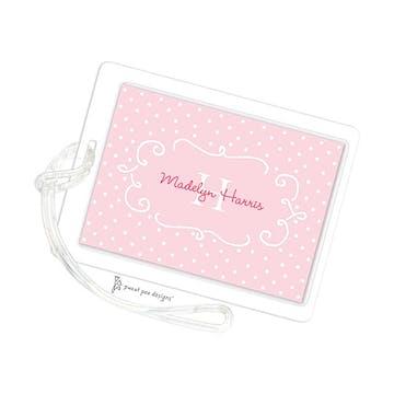 Swirl Frame & Dots Pink ID Tag