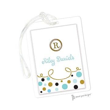 Curly Border & Dots Aqua ID Tag