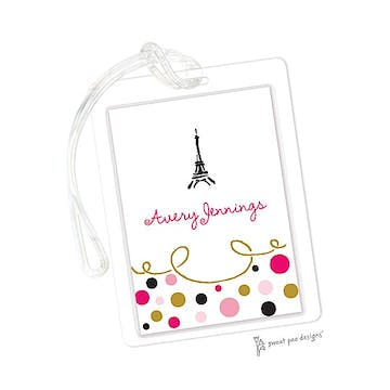 Curly Border & Dots Pink ID Tag