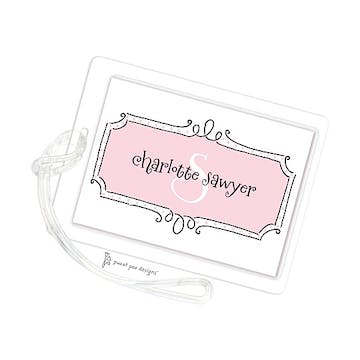 Curly Frame & Dots Pink ID Tag