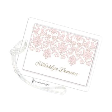 Damask Pink & Gold ID Tag