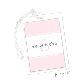 Dotted Bands Pink ID Tag