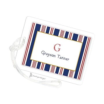 Nautical Stripes Red, White & Blue ID Tag