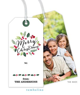 Watercolor Merry Hanging Gift Tag with Digital Photo