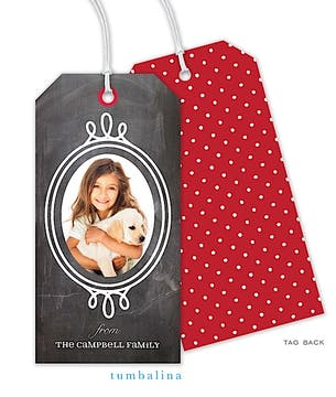 Chalkboard Frame Hanging Gift Tag with Digital Photo