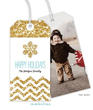 Glittery Chevron Snowflake Hanging Gift Tag with Digital Photo