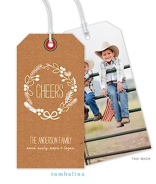 Brown Cheers Hanging Gift Tag with Digital Photo