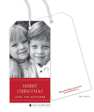 Dashing Through the Snow Holiday Photo Gift Tag - Red