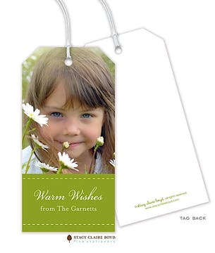 Dashing Through the Snow Holiday Photo Gift Tag - Green