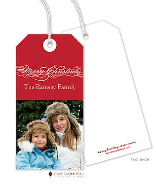 Seasonally Scripted Holiday Photo Gift Tag