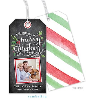 Handlettered Christmas Holly Chalkboard Hanging Gift Tag