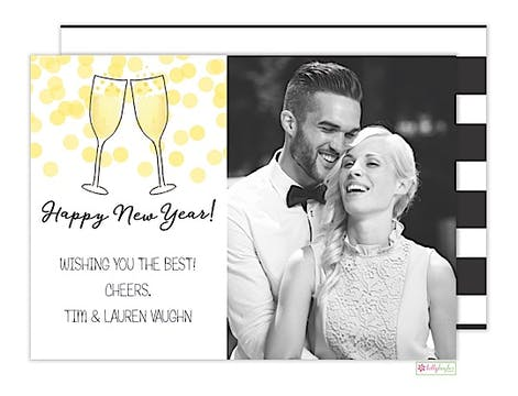 Champagne Toast Holiday Flat Photo Card
