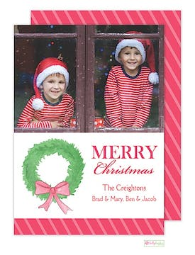 Fir Wreath Holiday Flat Photo Card