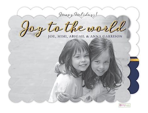 Joy to the World - midnight Holiday Flat Photo Card