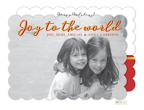 Joy to the World - crimson Holiday Flat Photo Card