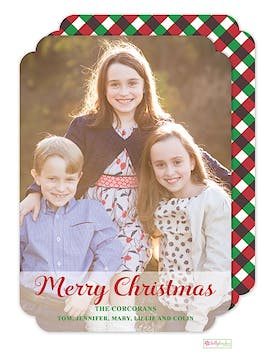 Red & Green Gingham Holiday Flat Photo Card