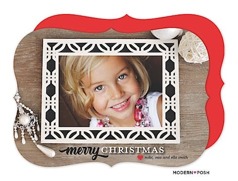 Modern Christmas Frame Holiday Flat Photo Card