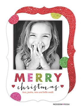 Glitter With Heart This Christmas Holiday Flat Photo Card