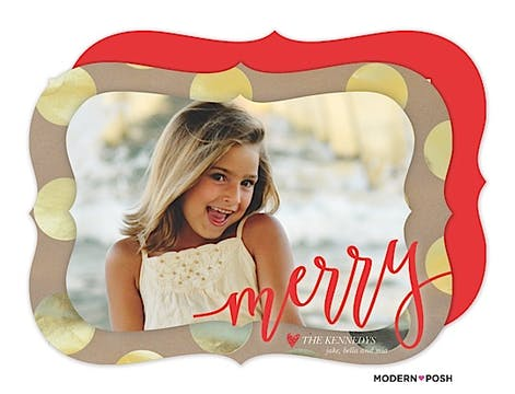 Golden Merry Dots Holiday Flat Photo Card