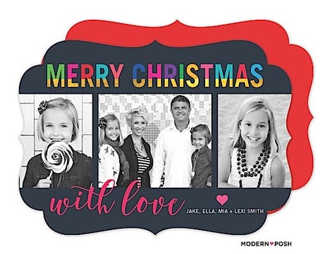 Colorful Dipped Dyed Christmas Holiday Flat Photo Card