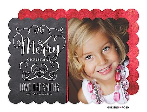 Chalkboard Merry Christmas Swirls Holiday Flat Photo Card