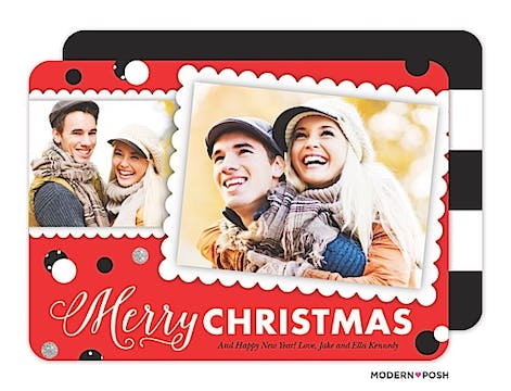 Chic Christmas Confetti Holiday Flat Photo Card
