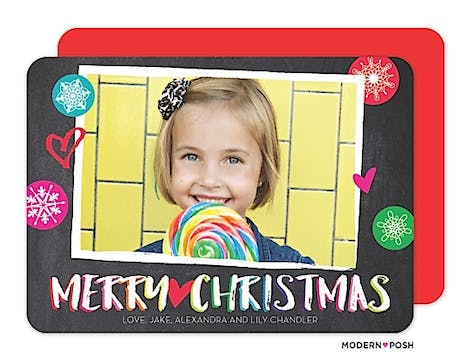 Christmas Snowflake Doodles With Heart Holiday Flat Photo Card
