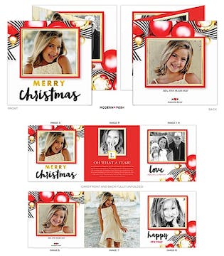 Modern Ornament Tri-Fold Holiday Folded Photo Card